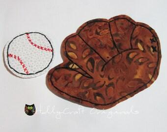 Baseball Mitt with Baseball Patch,Baseball Glove,Baseball Scrapbook Embellishment,Baseball Patch,Baseball Applique,Handmade Fabric Baseball