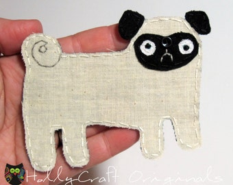 Pug, Pug Applique, Pug Patch,Toy Dog Applique,Dog Embellishment, Fabric Dog, Dog, Fabric Pug Applique, Made to Order