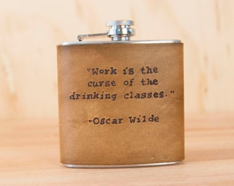 Personalized Flask - Leather Hip Flask in the Typeset Pattern - 6oz Flask shown with Oscar Wilde Quote