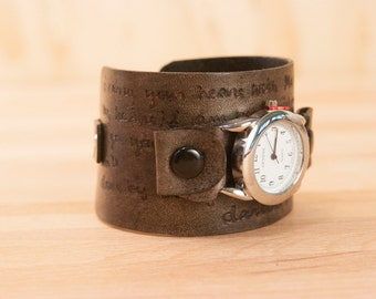 Leather cuff watch - Personalized Smokey Pattern in Antique Black