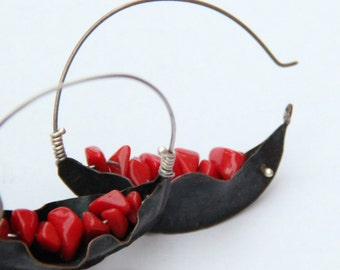 Pod Earrings - Fold Formed with Red Coral Chip Beads