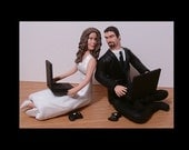Gamer Couple Wedding Cake Toppers Figure set - Personalized to Look Like Bride Groom from your Photos