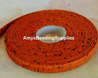24-Inches, ORANGE Portuguese 10mm Flat Cork, per (2 Feet)