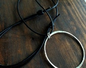 Silver and Leather Necklace -  Circle Pendant Necklace - Leather -  Bohemian Boho - EcoFriendly Sterling Silver - Open Circle Necklace N2074