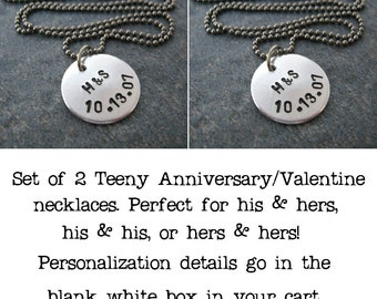 SET OF 2 Teeny Personalized Anniversary Necklace, rustic, initials, couples, wedding, valentines day, all couples welcome, lgbt friendly
