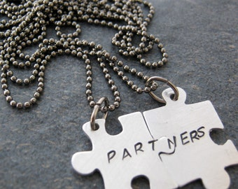 Partners Puzzle Piece Necklaces, Set of 2 Connecting, lgbt, domestic partnership, lesbian, gay marriage, civil union, his and his