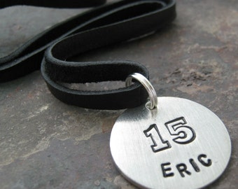 Personalized Jersey Name and Jersey Number Necklace, leather cord, choose length, black or brown cord available, 1 inch pewter circle