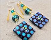 Dichroic Earrings, Polka dot jewelry, statement earrings, fused dichroic earrings, glass earrings, handcrafted jewelry,drop and dangle