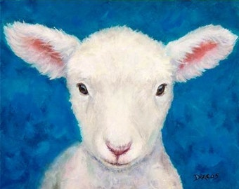 Sheep Art  Print of Original Acrylic Painting,  Lamb  on Blue, Dottie Dracos, Various Sizes