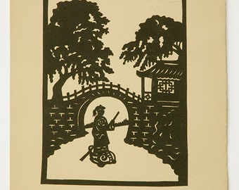 1935 Chinese Tales Myths and Folklore Paper Cut Illustration Black and White Original Book Plate