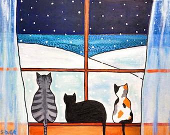 Winter Snow Cats Tortie Tabby Print Shelagh Duffett