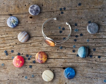 Interchangeable Galaxy Solar System Space Planet Bracelet - Magnetic Jewelry, Space Cuff - Cosmic Pendant, Bridesmaid Gift