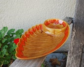 Vintage Mid Century California Pottery Chip and Dip Serving Dish