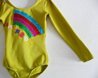 RAINBOW LEOTARD- Gymnastics Leotard- Personalized Leotard - Sizes 18/24 months, 2/4 years, 4/6 years 6/8 years and up
