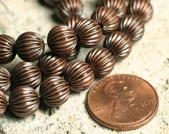 SALE Antique copper corrugated round 8mm, 7-inch strand  (item ID YWACHM00023)