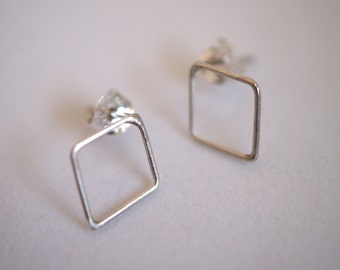 Tiny Diamond Studs in Sterling Silver - made to order, small diamond stud earrings, tiny silver stud earrings, minimalist silver earrings