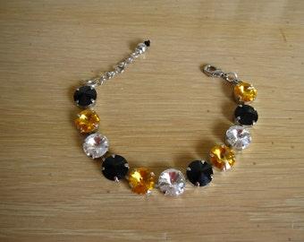 Black & Gold 12mm Swarovski Crystal Rhodium Tennis Bracelet