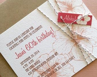 Vintage Hawaiian invitation, coral and pink, set of 10