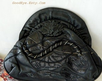 Vintage Black Leather Clutch Purse Shoulder Bag Small Handbag Crossbody SNAKESKIN Applique 1980s