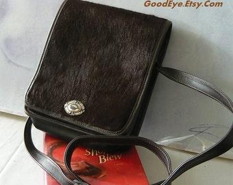 Vintage Brown Leather Cow Hair Purse Crossbody ZIPPI  Messenger Shoulder BAG medium