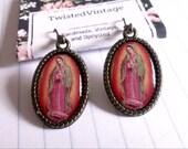 La Virgen de Guadalupe Mexican Virgin Mary Morenita Religious Catholic Cameo Mexico Earrings