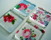 Set of 4 Cath Kidston print square glass tile magnets / fridge magnets / kitchen magnets / made to order