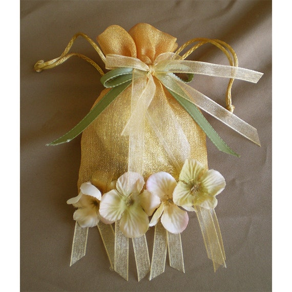 Faerie pouch sheer drawstring bag floral accessory fairy costume party favor magic