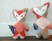 Felicity Fox Kashmere coral orange upcycled cashmere sweater plush toy