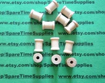 """SP3000WW12  Wood Spools - 1/2"""" tall x 3/8"""" wide w/ 1/8"""" hole - 12 pcs"""