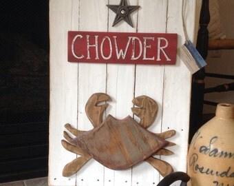 Vintage look Crab Chowder sign