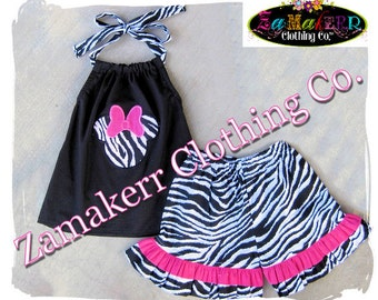Girl Minnie Mouse Outfit Set - Black White ZEBRA Pant Set - Infant Toddler Outfit Set Size 3 6 9 12 18 24 month 2T 2 3T 3 4T 4 5T 5 6 7 8
