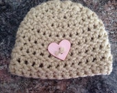 Instock Simple Crochet Beanie Heart Button Hat Photography Prop Newborn Ready to Ship Brown tan