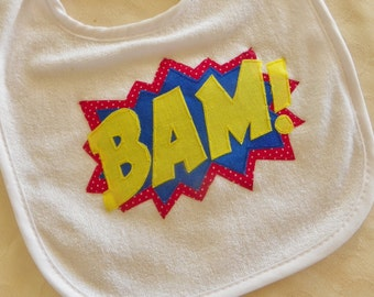 Superhero Comic Bib- Bam! or Pow!