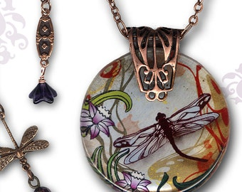 Dragonfly Necklace - Reversible Glass Art Necklace - Nouveau Jardin Collection - Petite Copper Garden Dragonfly