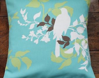 "16"" x 16"" cushion cover - bird on aqua"
