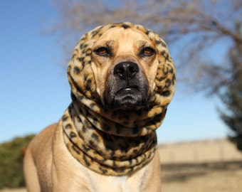 SMALL DOG SNOOD, Leopard Polar Fleece Snood for Small Dog,  Leopard print, Boston Terrier or similar size dog
