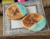 Handmade stoneware ceramic sew on buttons Aqua and Brown (2)