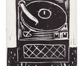 record player block print