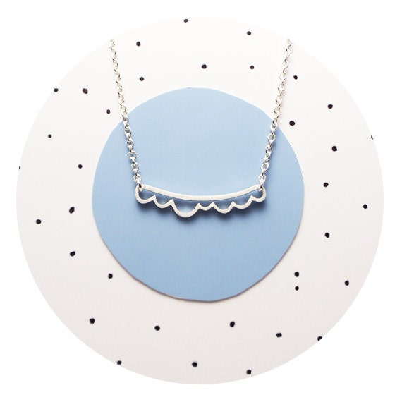 Small Cloud Necklace / Cut-out Silver Cloud Necklace in Solid Sterling Silver OR 9ct Gold Handcrafted by Ginny Reynders