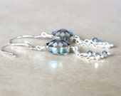 Sparkling Silver Dangle Earrings, Purple Earrings, Blue Shimmer, Dangle Earrings
