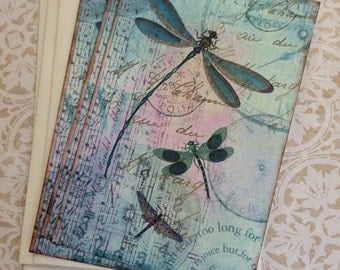 Vintage Dragonfly Notecards - Dragonfly Dreams Notecards - Flat Notecards, Nature, Teal, Aqua- Set of 3