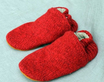Red Wool Kids Slippers Leather Bottom Kids Size 3 made from recycled materials