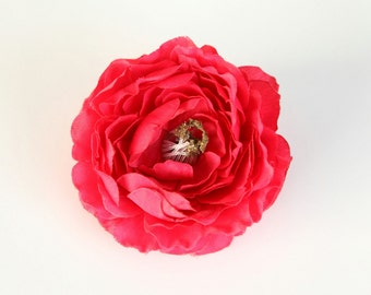Ruffle Ranunculus in Almost Red, Hot Pink - 4 inches  -- Artificial Flower Head - ITEM 01043