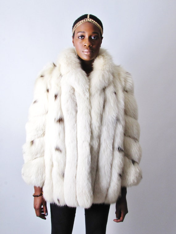 vintage 80&39s white spotted fox fur coat jacket by stellahsgroove