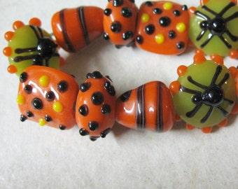 Orange Black and Green Halloween Beads, Spiders, 15mm, Variety of Shapes