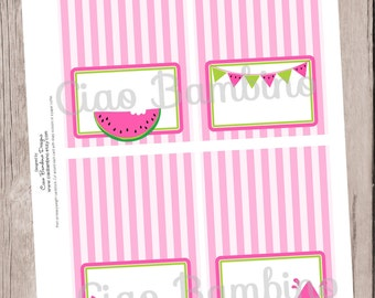PRINTABLE Pink Watermelon Folded Tent Cards / Food Cards, Place Cards / You Print / INSTANT DOWNLOAD