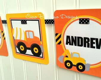 Construction Happy Birthday Banner / Dump Truck /  Digger / Personalized with Name and Age