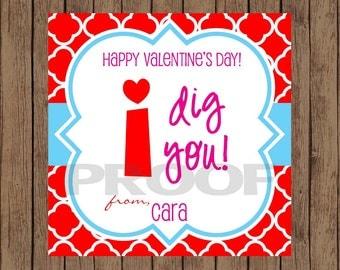 I DIG YOU Valentine Favor Tags / I Dig You Favor Tags / Valentine Favor Tags / Dig U Valentine Tags / Valentine Tags / PRINTABLE / Set of 12