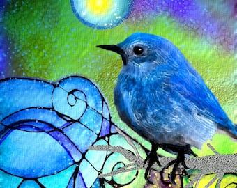 Bird  Print Art Moondust   bird print  flowers art print  tree art print  art print garden painting tree art print flowers art print