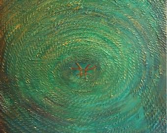 "M.Lang Large Painting..""ZEN"" Asian Green Textured Mixed Media (24x30)"